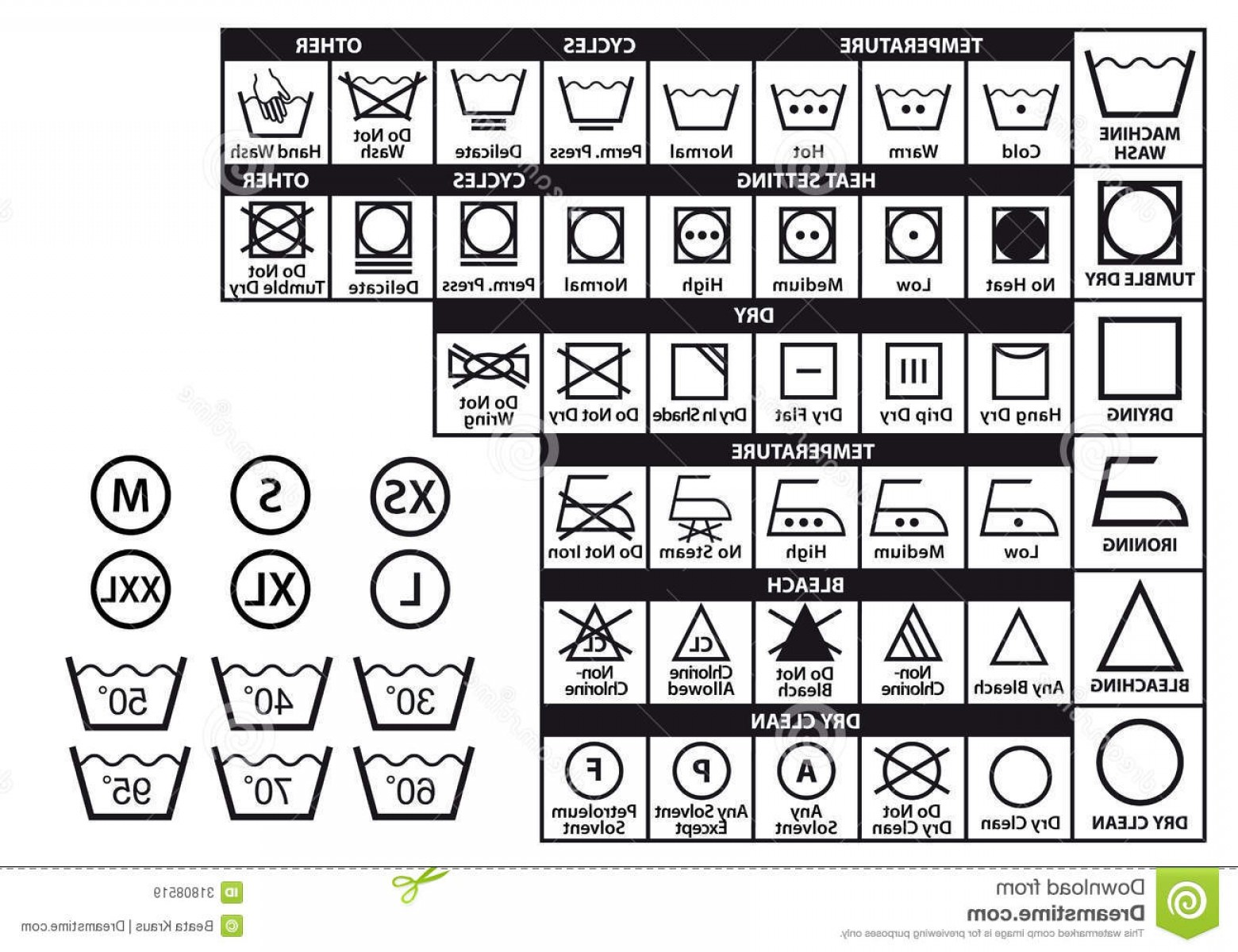 1560x1200 Royalty Free Stock Images Textile Care Symbols Vector Set Labels