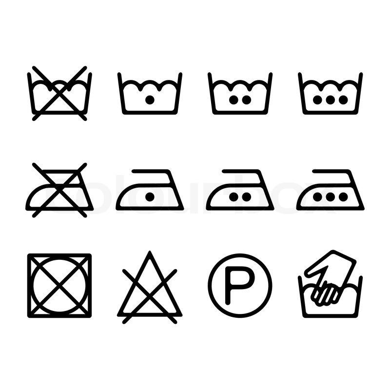 800x800 Set Of Instruction Laundry Icons, Washing Symbols Stock Vector