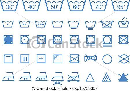 450x318 Washing Care Symbols, Vector Icons. Textile Care, Laundry Washing