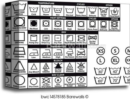 498x379 Canvas Print Of Textile Care Symbols, Vector Set Barewalls