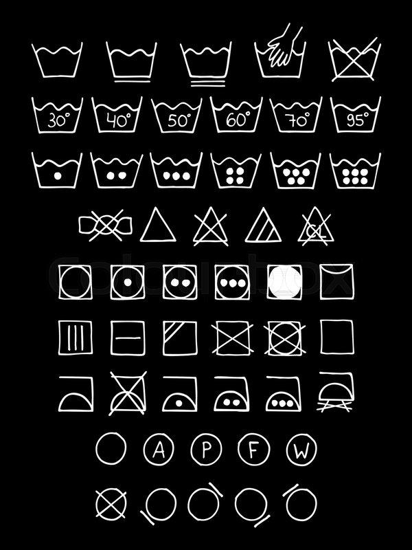 600x800 Doodle Laundry Symbols. Hand Drawn Scribble Washing Icons