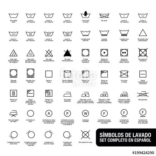 500x500 Icon Set Of Laundry Symbols, Vector Illustration Print Label Cloth