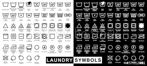 500x225 Icon Set Of Laundry Symbols