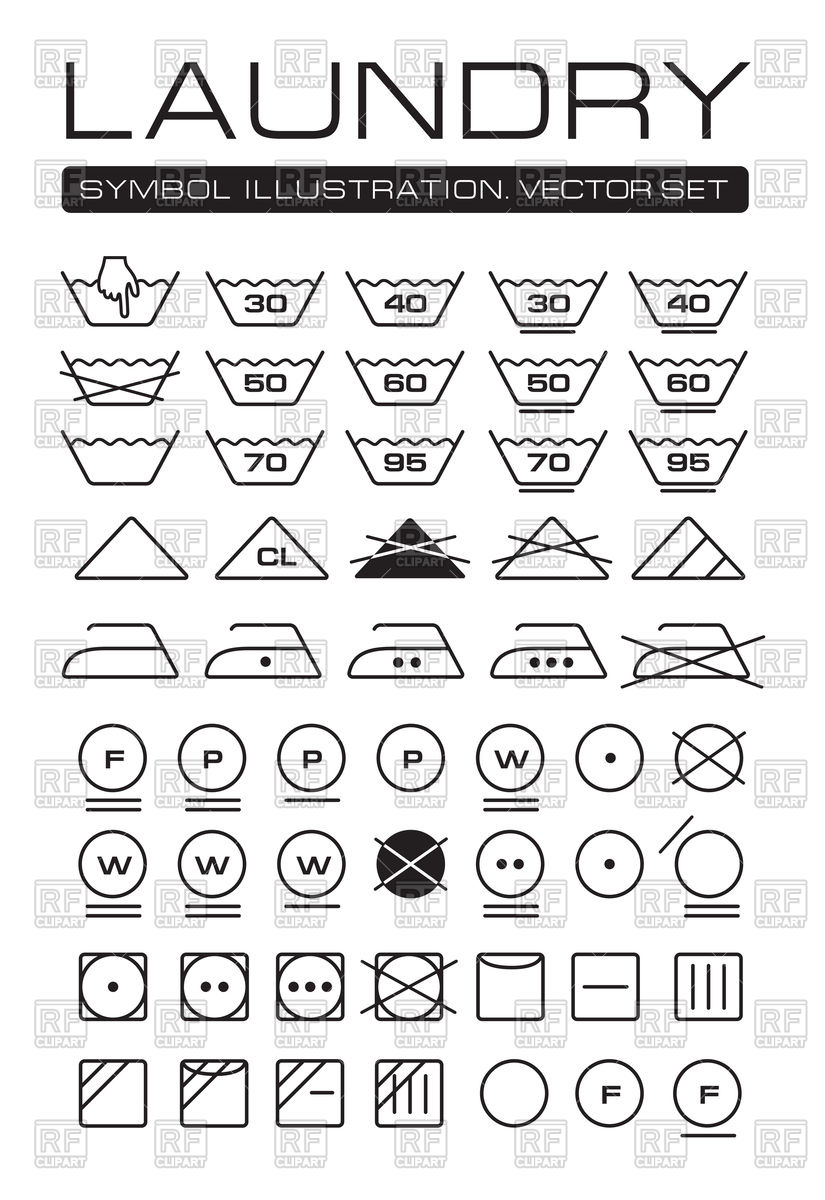 825x1200 International Laundry Symbols Collection Vector Image Vector