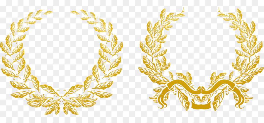 900x420 Gold Olive Branch Euclidean Vector Laurel Wreath