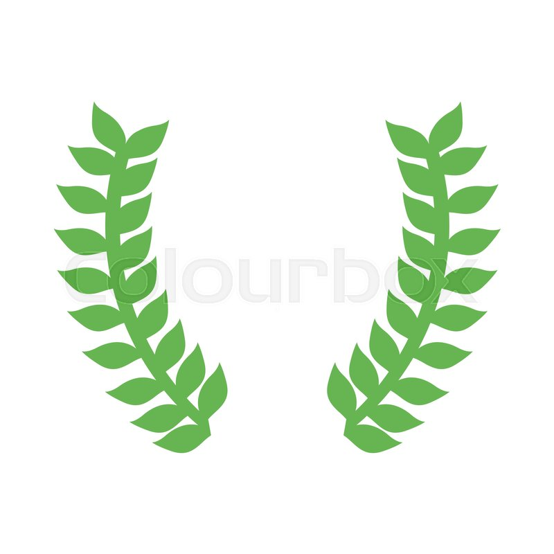 800x800 Green Laurel Leaves Wreath Icon Over White Background. Vector