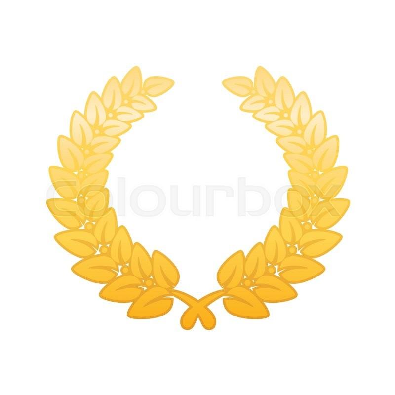 800x800 Anniversary Golden Laurel Leaf Wreath Stock Vector Colourbox