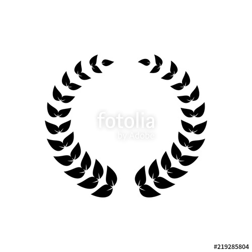 500x500 Black Round Wreath Of Laurel Leaves For Awards Decoration Stock