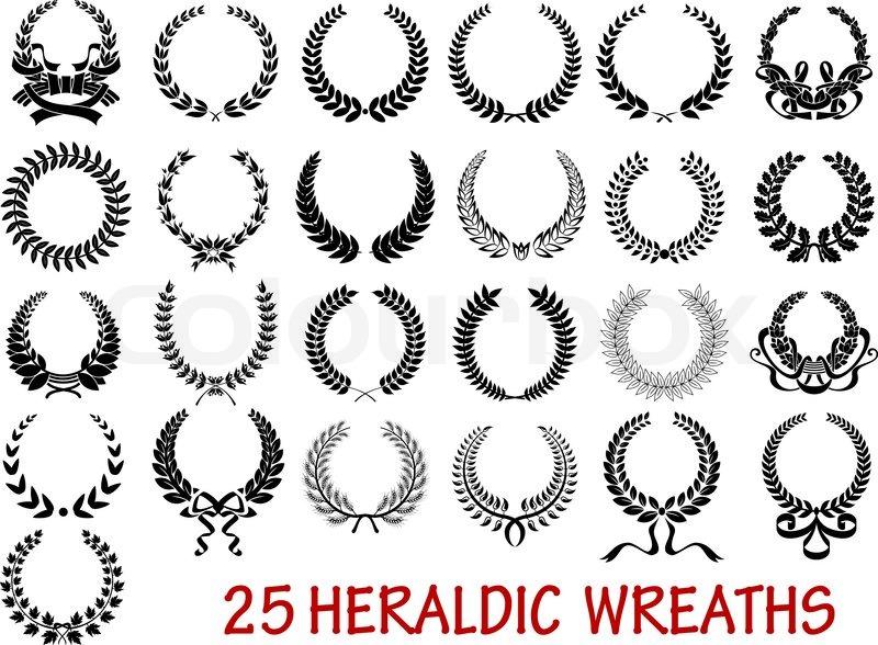 800x588 Retro Laurel Wreath Heraldic Icons Set With Ribbons And Laurel