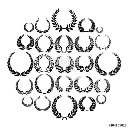 500x500 Laurel Wreath Icons Set. Simple Illustration Of 25 Laurel Wreath