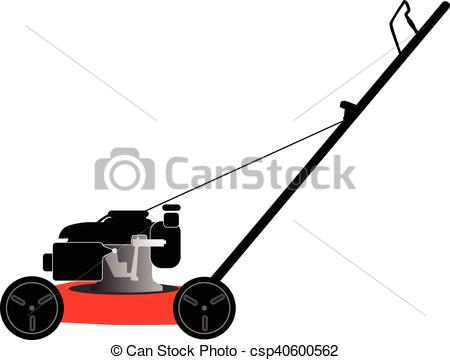 450x360 Petrol Lawn Mower. Lawn Mower On A White Background Vector