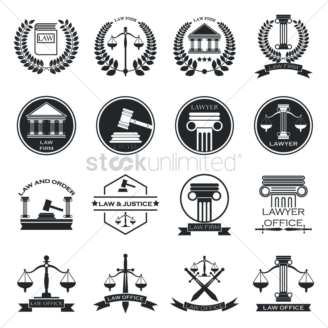 1300x1300 Set Of Law Logo Element Icons Vector Image