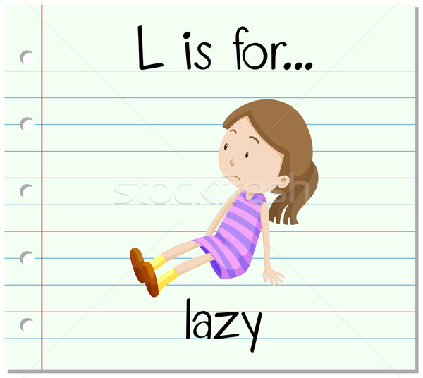 600x536 Flashcard Letter L Is For Lazy Vector Illustration Daniel Cole