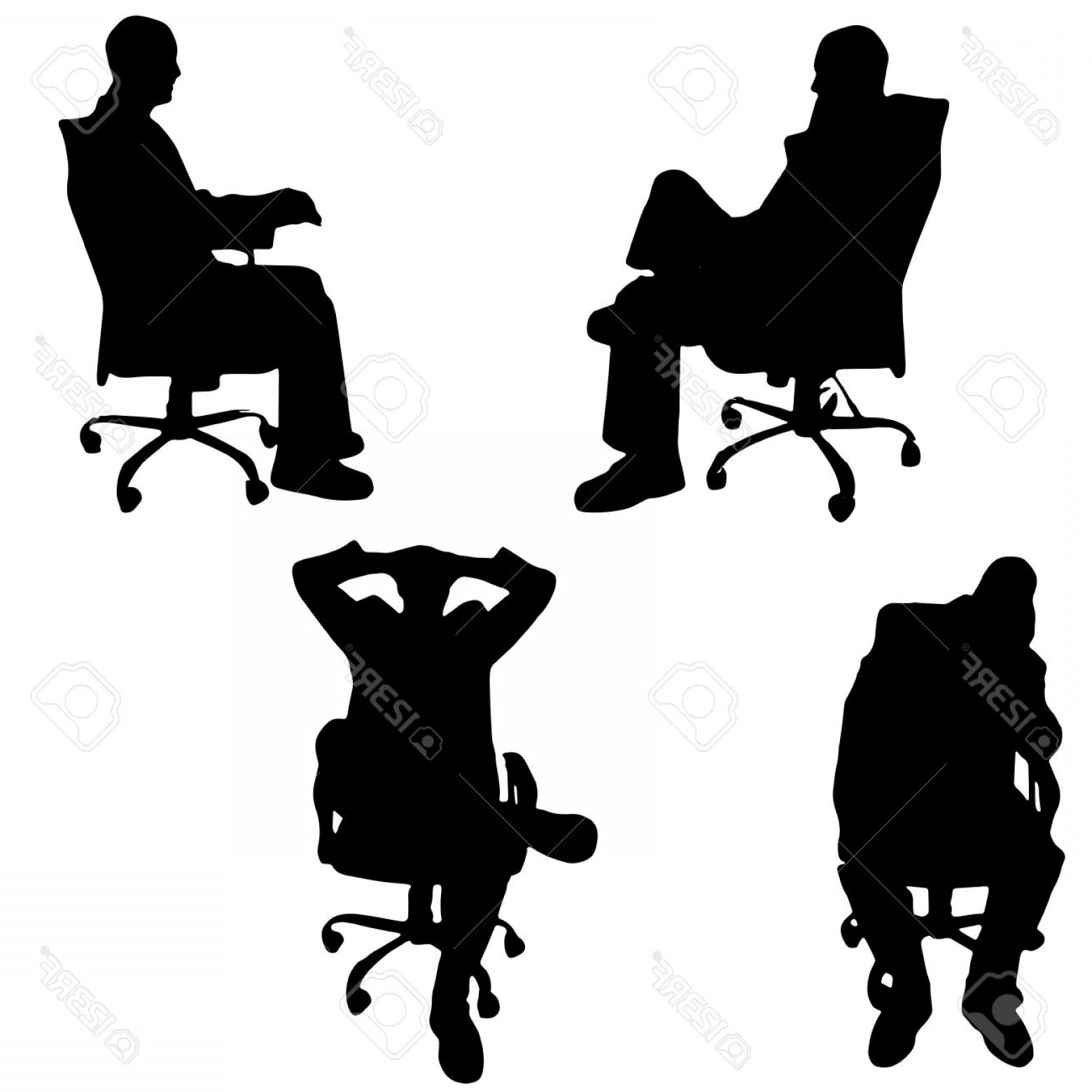 1560x1560 Photostock Vector Vector Silhouette Of A Man Sitting In The Office