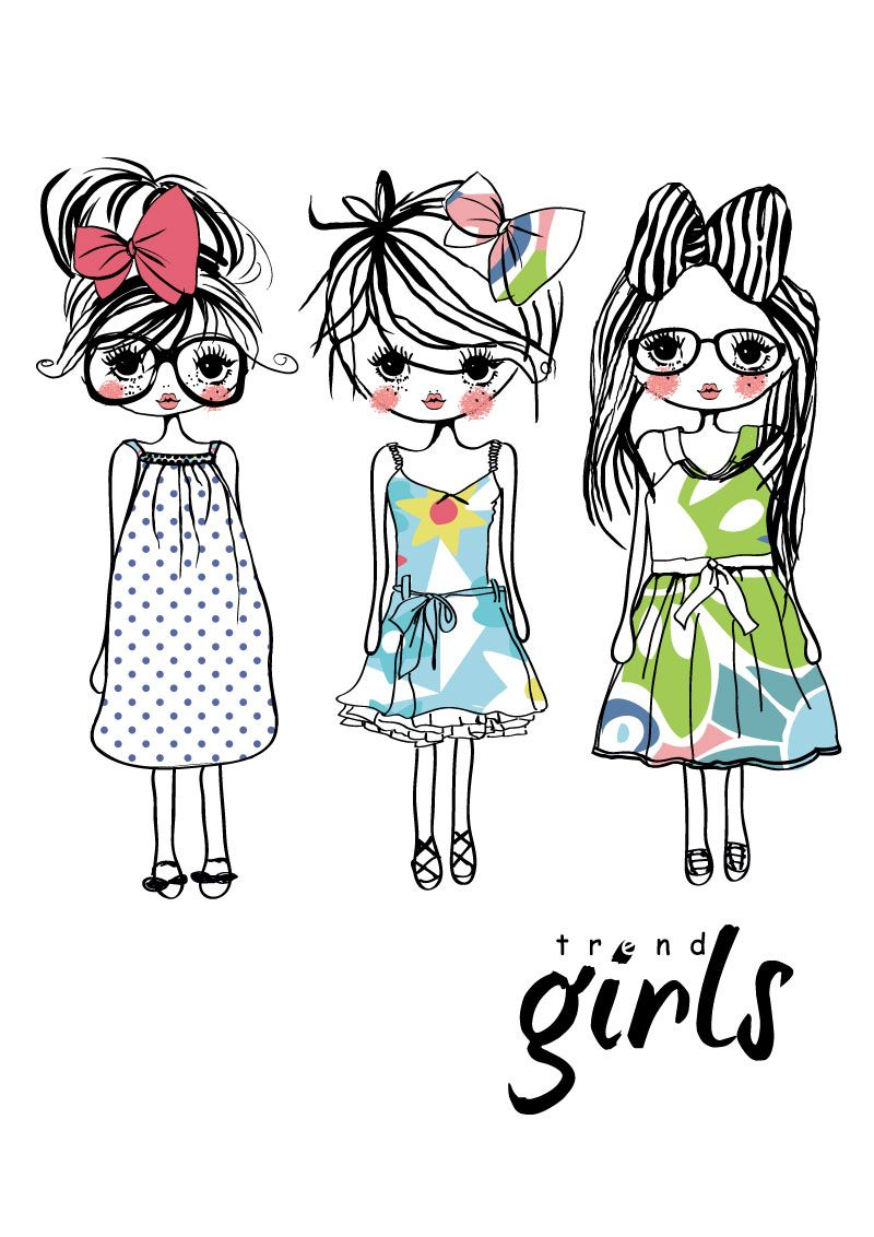 800x1132 Cute Hand Painted Girl Vector Material Lazy Drawing Resourses