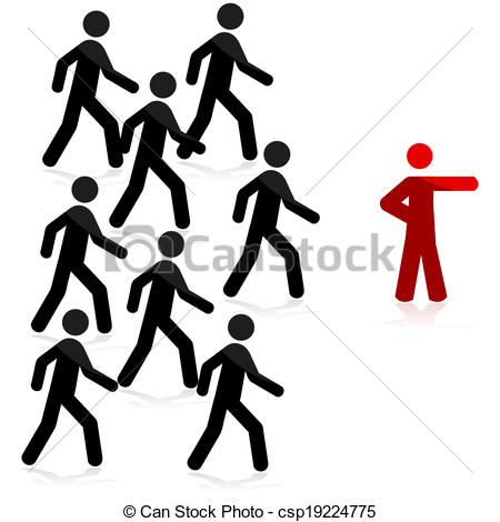 450x470 Follow The Leader. Concept Illustration Showing A Red Man Pointing