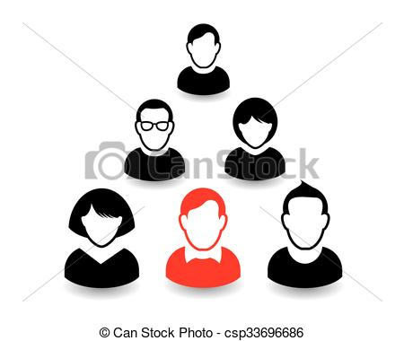 450x380 Human Portrait And Icon. Vector Illustration. Office Team And Leader.