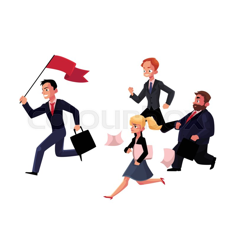 800x800 People Running After, Following The Leader Holding Flag, Business