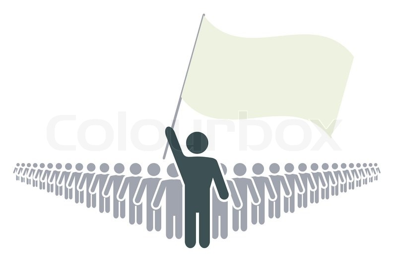 800x533 Rank Of Abstract People With Leader And Flag Vector File Stock
