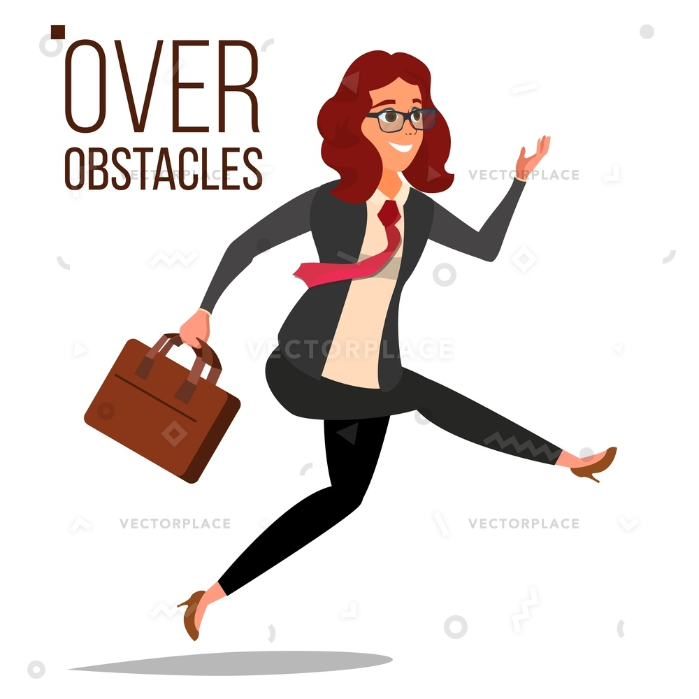 1000x1000 Business Woman Jumping Over Obstacles Leader Vector Illustration