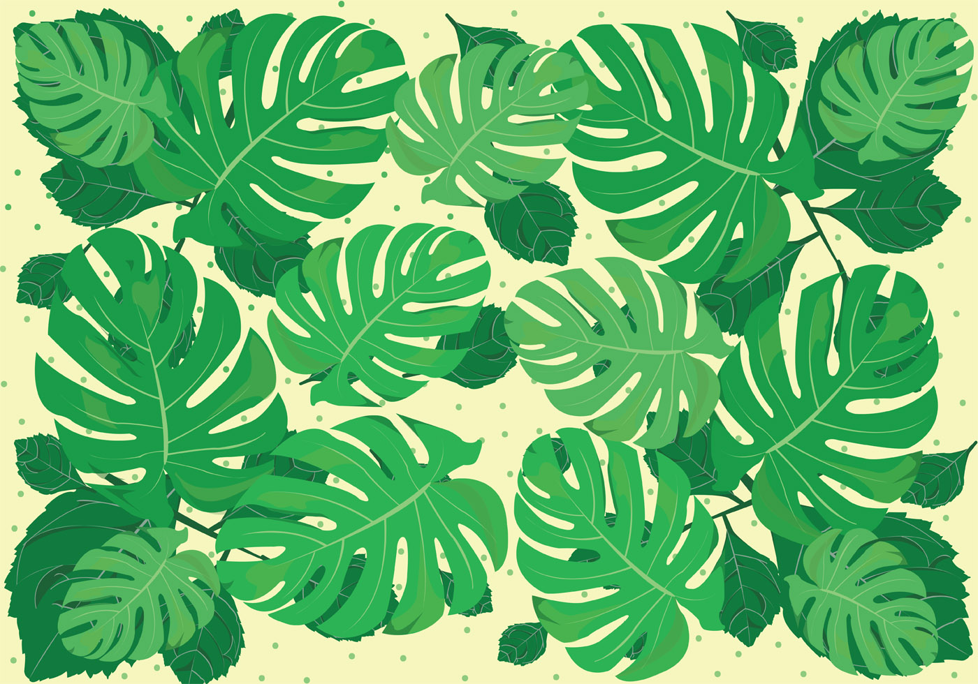 1400x980 Jungle Leaves Free Vector Art