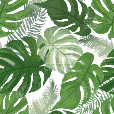 400x400 Tropical Leaves Background. Palm Tree Leaf Seamless Pattern