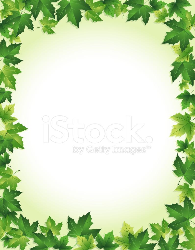796x1024 Green Leaf Border Stock Vector