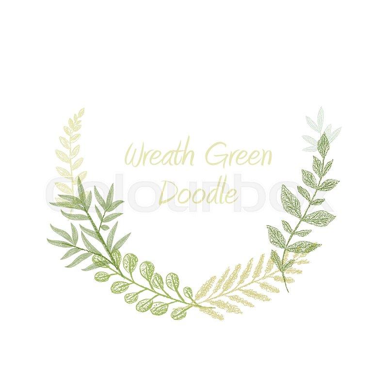 800x800 Green Doodle Hand Drawn Herb Border Vector, Greeting, Invitation