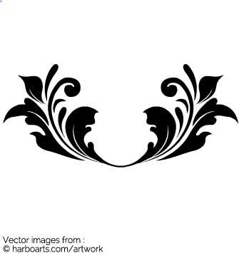 335x355 Download Calligraphic Leaf Border