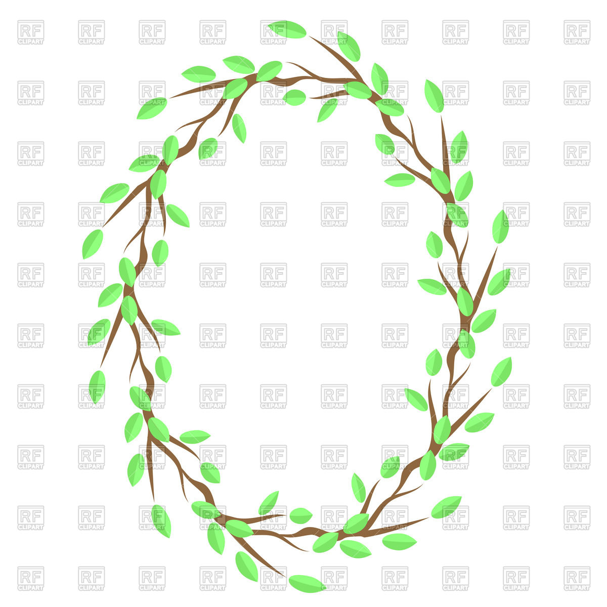 1200x1200 Frame Of Green Leaves On Branch Vector Image Vector Artwork Of