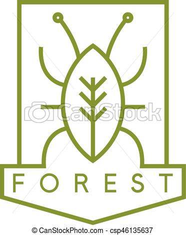 372x470 Line Art Vector Crest With Bug And Tree.