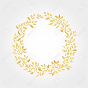300x300 Royalty Free Stock Photo Golden Leaf Crest Vector Drawing