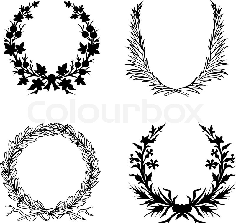 800x757 Set Of Four Black And White Laurel Wreath. Stock Vector Colourbox