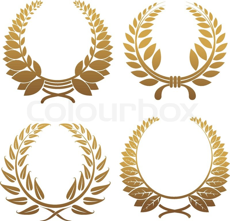 800x768 Set Of Gold And Black Laurel Wreaths Stock Vector Colourbox