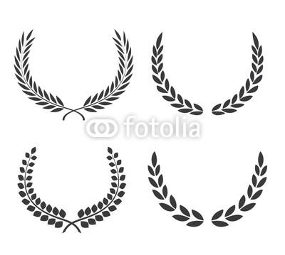 400x359 Crest Logo Element Set,set Of Award Laurel Wreaths And Branches