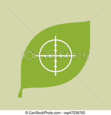 450x470 Vector Green Leaf Icon With A Crosshair. Illustration Of A Vector