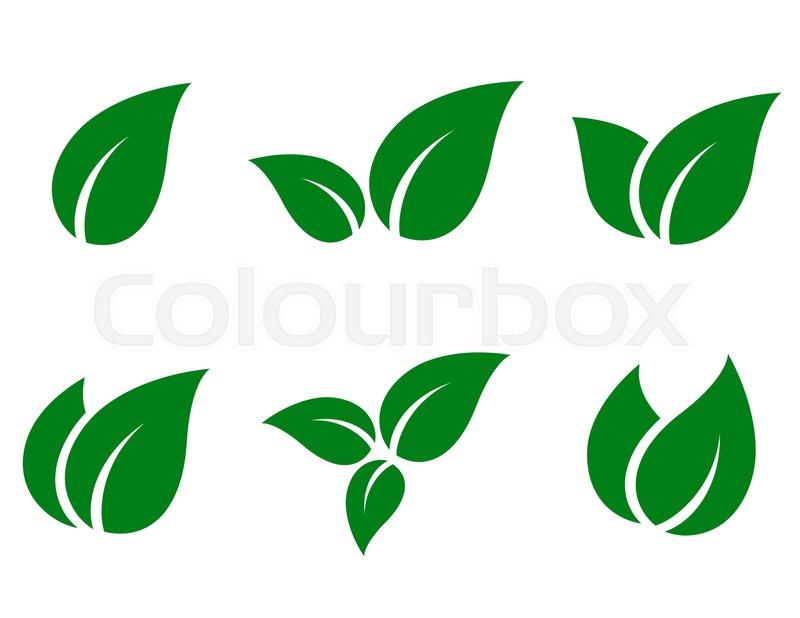 800x618 Eco Green Leaf Icon Set On White Background Stock Vector Colourbox