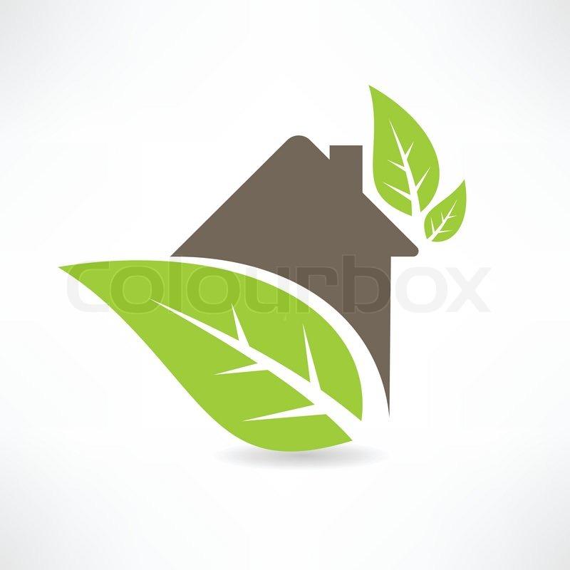800x800 Eco House Concept Green Leaf Icon Stock Vector Colourbox