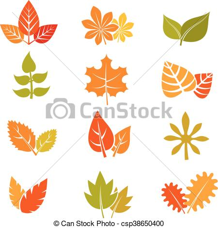450x469 Multicolor Autumn Leaves Flat Vector Icons. Fall Feuille Leaf