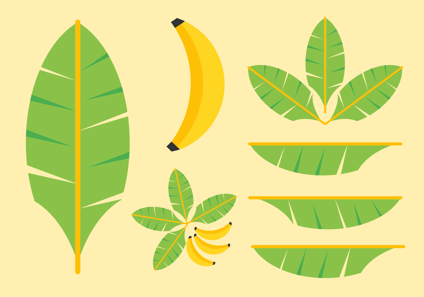 1400x980 Banana Leaves Vector Pack