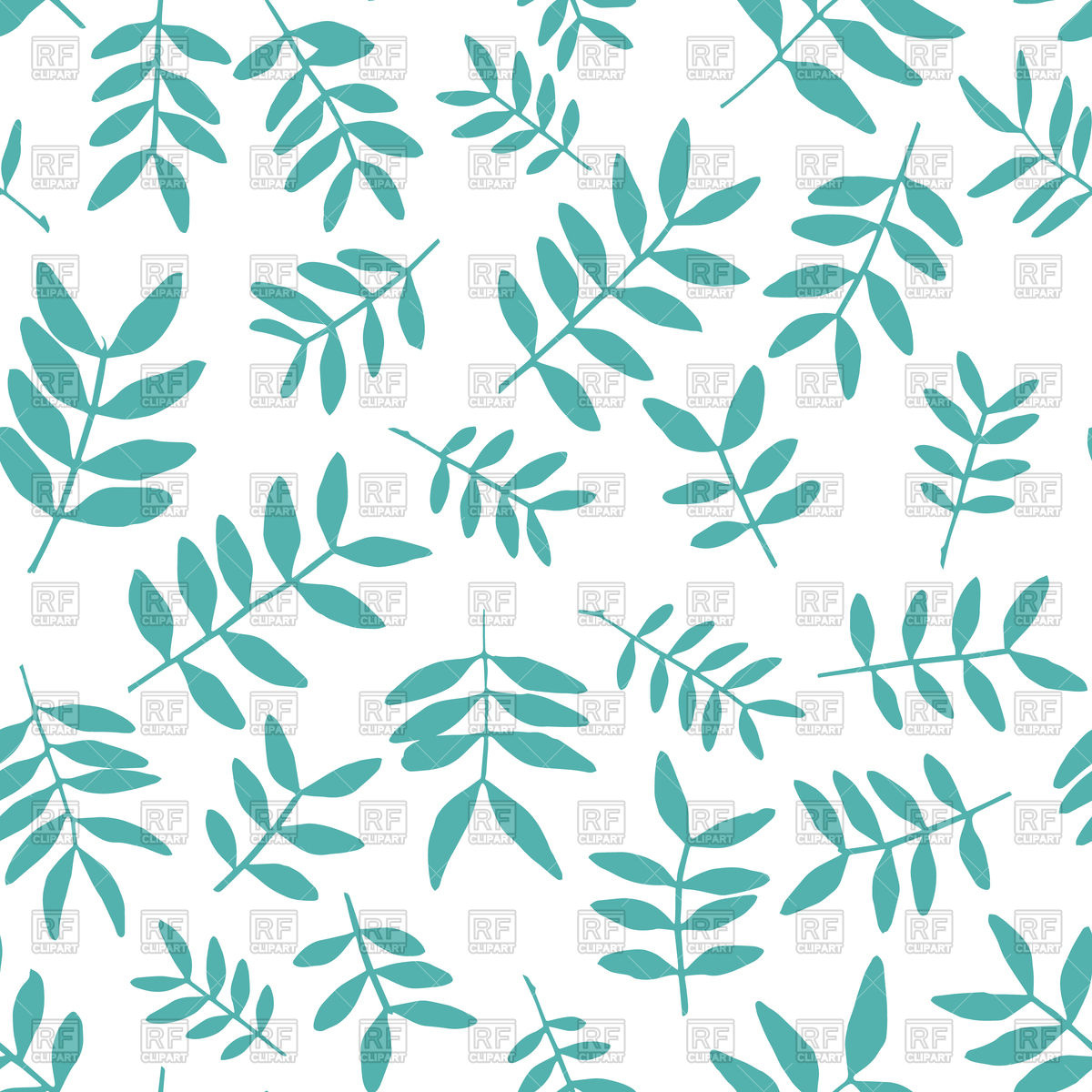 1200x1200 Seamless Pattern With Blue Leaves Vector Image Artwork Of