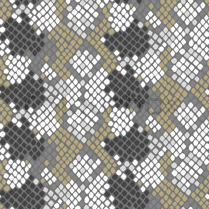 800x800 Python Skin Seamless Vector Texture. Gray And Gold Tone Colors