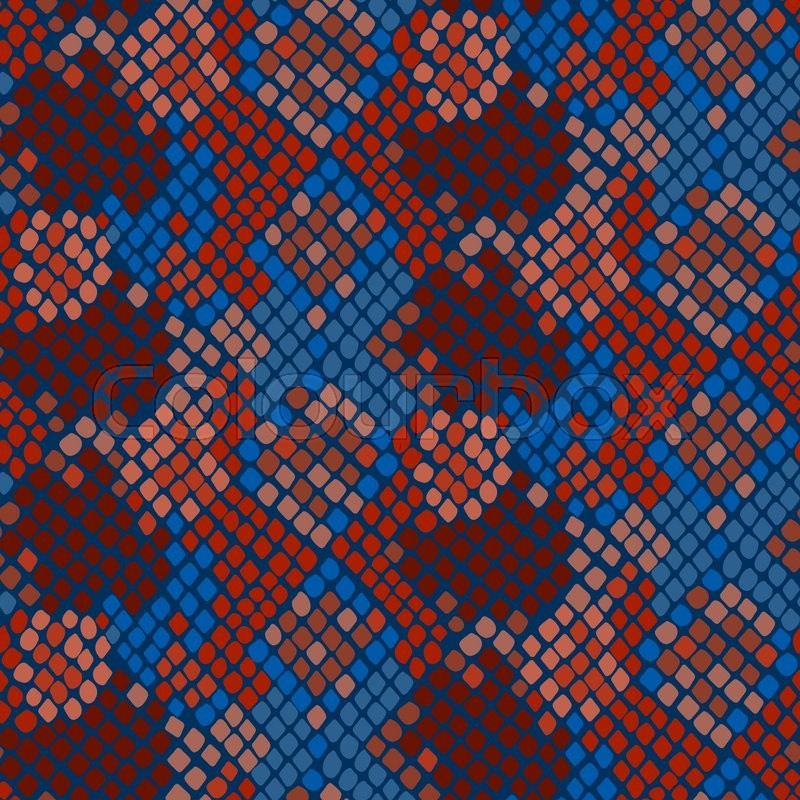 800x800 Snake Skin Seamless Vector Texture. Blue And Red Tone Colors Snake
