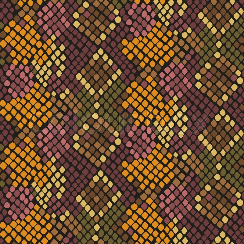 800x800 Snake Skin Seamless Vector Texture. Brown Yellow Tone Colors Snake