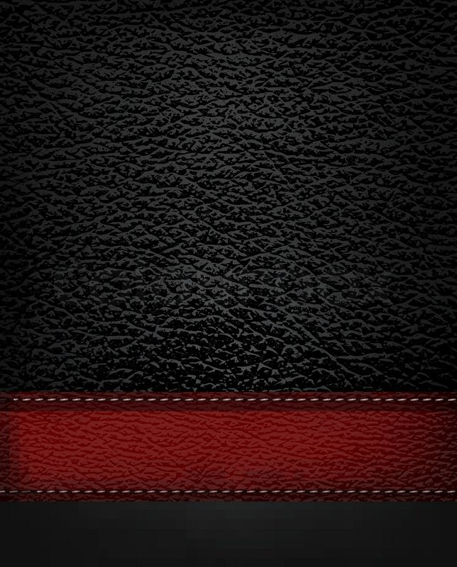 644x800 Black Leather Background With Red Leather Strip. Vector