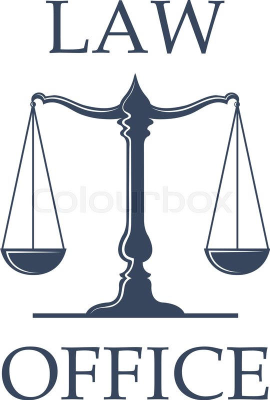 540x800 Law Or Advocate Office Emblem. Vector Icon With Scales Of Justice
