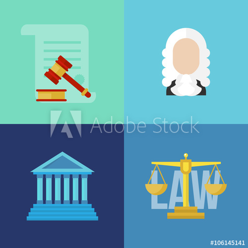 500x500 Legal Law Concept Banners. Legal Vector. Law Flat Banners. Legal
