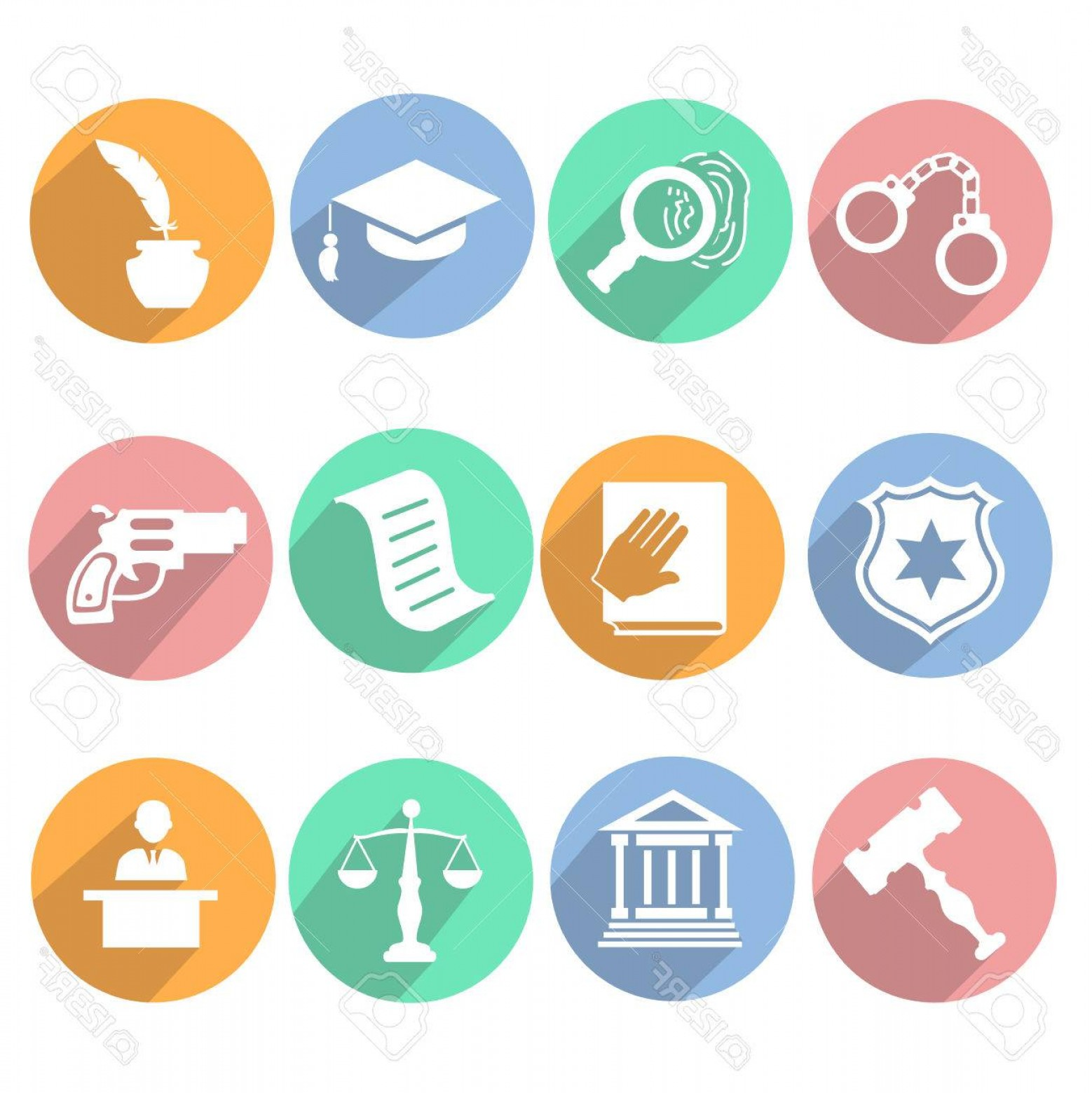 1558x1560 Photostock Vector Law And Judgment Legal Justice Icon Flat Set