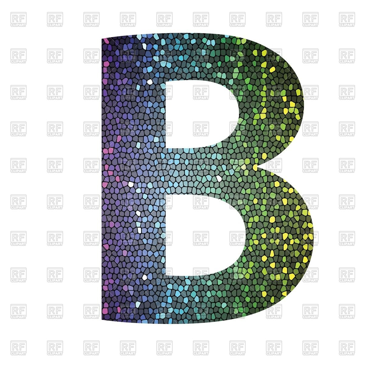 1200x1200 Glittering Mosaic Font, Letter B Vector Image Vector Artwork Of