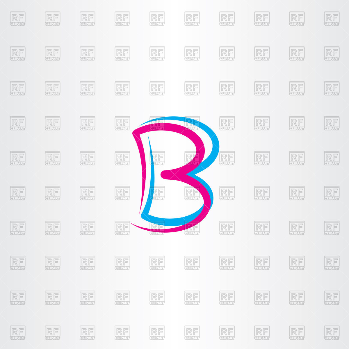 1200x1200 Icon Of Pink And Cyan Letter B Vector Image Vector Artwork Of